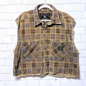Lucky Brand Cropped Corduroy Plaid Button Shirt XL